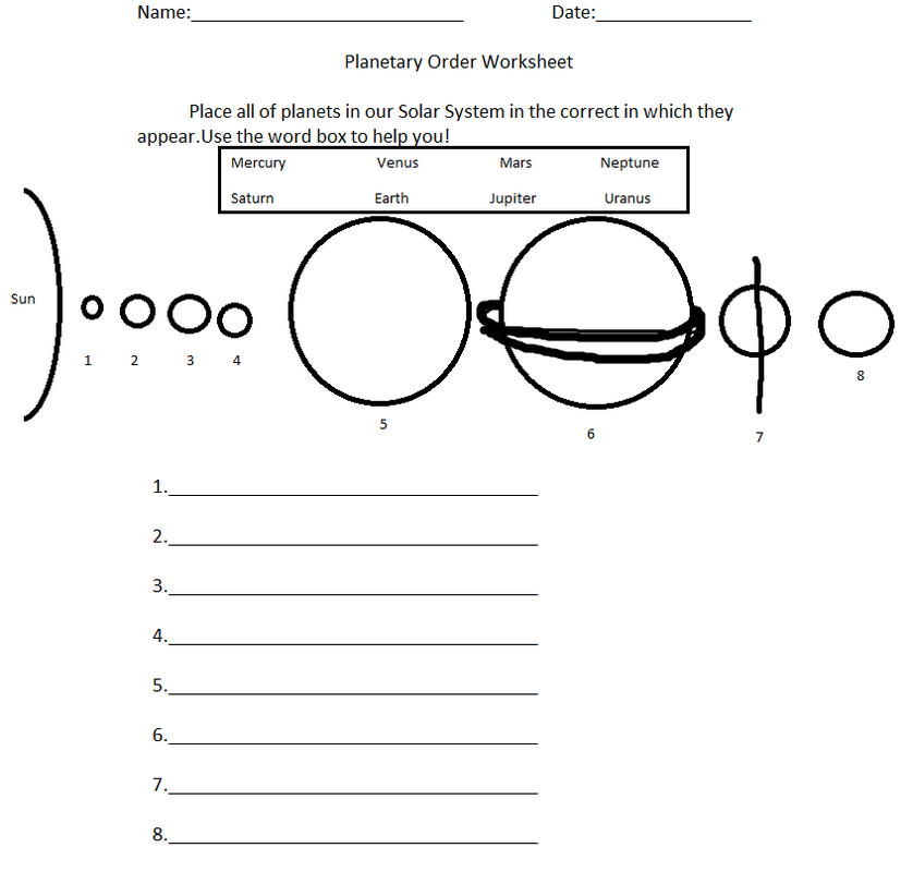 orbit solar system worksheet blank - photo #17